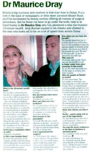 Dr Dray in the press in Liban - Aesthetic medicine in London