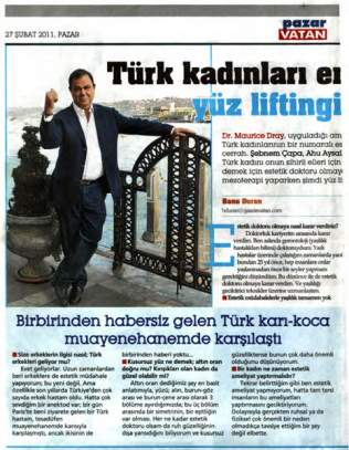 Dr Dray in the press in Turkey - Aesthetic doctor in London